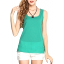 Green Slim Chiffon Tanks