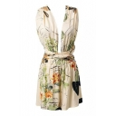 Apricot Background Plunge Neck Cross Back Leaves&Flower Rompers
