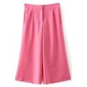 Pink Elastic High Waist Wide Leg Crop Pants