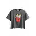 Dark Gray Chips Print Short Sleeve T-Shirt
