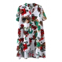 White Background Short Sleeve Wood&Flower Shirt Dress
