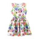 Solid Colorful Rose Print White Background Tanks A-line Dress