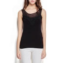 Black Mesh Panel Lace Crochet Slim Tanks