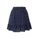 Dark Blue Background All Over Dot Elastic Waist Short Skirt