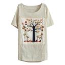 Cream Short Sleeve Tree&Birds Applique T-Shirt