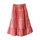 Red Gingham Mori Girl Style A-line Midi Skirt