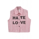 Pink Thin Vertical Stripe&Letters Print Sleeveless Crop Shirt