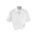 White Background Black Stripe Short Sleeve Crop Shirt with Knot Hem