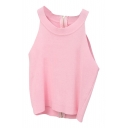Pink Back Zip Round Neck Knitting Crop Camis