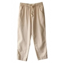 Khaki Drawstring Waist Casual Straight Leg Pants