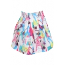 Shopping Girl Print White High Waist Organza Skirt