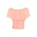Pink Ruffle Layer Off-the-Shoulder Elastic Waist Chiffon Blouse