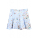 Sky Blue Background White Flora A-line Skirt