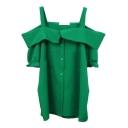 Green Off-the-Shoulder Short Sleeve Slip Shirt
