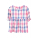 Pink&Blue Plaid Short Sleeve Babydoll Blouse