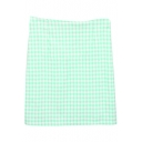 Green&White Gingham Bodycon Skirt
