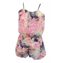 Pink Coconut Tree Chiffon Camis with Shorts Co-ordinate