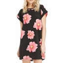 Black Background Pink Flower Print Column Short Sleeve Dress