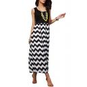 Color Block Style Curve Pattern Print Black Longline Dress