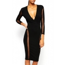 V-Neck Mesh Sheer Long Sleeve Midi Dress with Keyhole Back