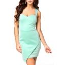 Plain Tie Asymmetric Open Back Fitted Sleeveless Dress