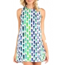 Geometry Pattern Print Sleeveless Round Neck Column Dress