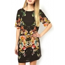 Black Floral Print Short Sleeve Open Back Dress