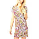 Short Sleeve Gorgeous Pattern Tribal Style Slim Midi Dress