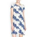 Lily Print Round Neck Short Sleeve Shift Dress