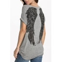 Gray Short Sleeve Wing Print Tunic T-Shirt