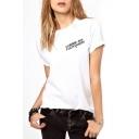 White Short Sleeve Letter Print Front and Back T-Shirt