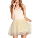 Beige Modal&Mesh Panel Mini A-line Slip Dress