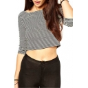 Boat Neck Mono Stripe 3/4 Sleeve Crop T-Shirt