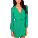 Green Wrap V-Neck Long Sleeve Dress
