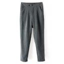 Gray Double Button Harem Casual Pants