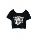 Black Cat Print Crop Short Sleeve Tee
