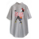 Blue Plaid Cartoon Back Short Sleeve Tunic Shirt
