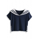 Blue Striped Navy Short Sleeve Drawstring Tee