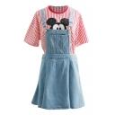 Light Blue Fitted Denim Short Overall Dress