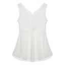 White V-Neck Lace Insert Layered Sleeveless Blouse