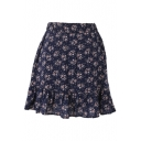 Dark Blue Background Vintage Flora Elastic Waist Short Skirt