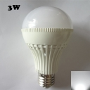 3W 180° E27 6000K LED Ball Bulb in White PC
