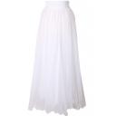 White Mesh Maxi Skirt