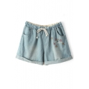 Light Blue Bees Embroidered Denim Shorts