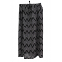 Black Curve Pattern Drawstring Waist Chiffon Tube Skirt