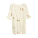 Wild Flower Embroidered Ruffle Cuff White Babydoll Dress