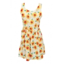 All Over Sunflower Print A-line Tanks Dress