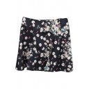 Black Background White Flora A-line Skirt