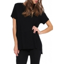 Concise Step Split Hem Plain T-Shirt