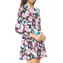 Black Background Eye-Catching Rose Print Keyhole Back Mini Dress